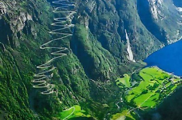 The Lysevegen Road: rising 640m in twenty seven hairpin bends, and a 1,500m tunnel,
