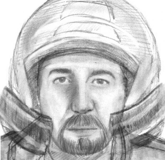 French police have released this artist's impression of the motorcyclist they believe to be responsible for the Lake Annecy massacre last year.