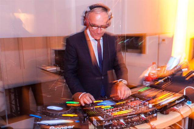 Swabian born Dr Ulrich Bez took to the decks at the opening of Aston Martin's brand new dealership in Stuttgart last night. Located next to the airport, south of the city in Filderstadt, the gallery-like, modern-luxe, stone and glass premises contain the facilities you expect, plus a 2,000sq ft underground garage where owners can store their cars. Aston now has ten dealerships in Germany.
