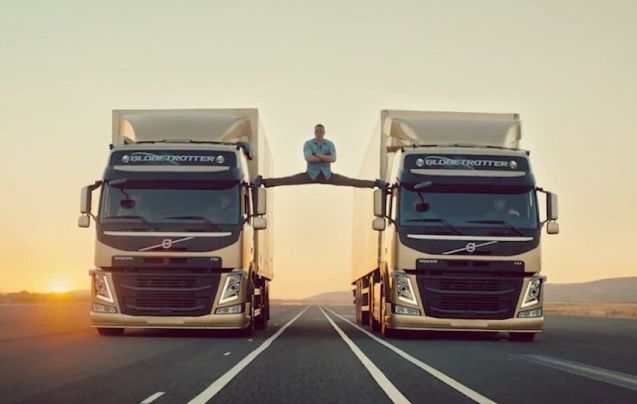 Jean-Claude Van Damme stars in an impressive video for Volvo Trucks called Epic Split. Believe it or not these trucks are actually reversing. The stunt is designed to demonstrate Volvo's new Dynamic Steering system that compensates for road illegularities