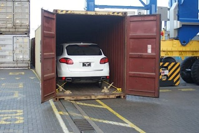 Lithuania – absolute weirdest story of the day. Customs officers in Klaipeda decided to investigate further after finding two ageing 4x4's inside a shipping container. According to the documentation they were en route from the US to Afghanistan. Further investigation revealed a brand new Porsche Cayenne and unspecified Land Rover, both stolen in America. Officials suspect an inside job. One person has been arrested. Picture courtesy