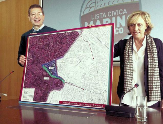 Rome mayor Ignazio Marino presents his plan to pedestrianize the centre of Rome. Pic via @IgnazioMarino