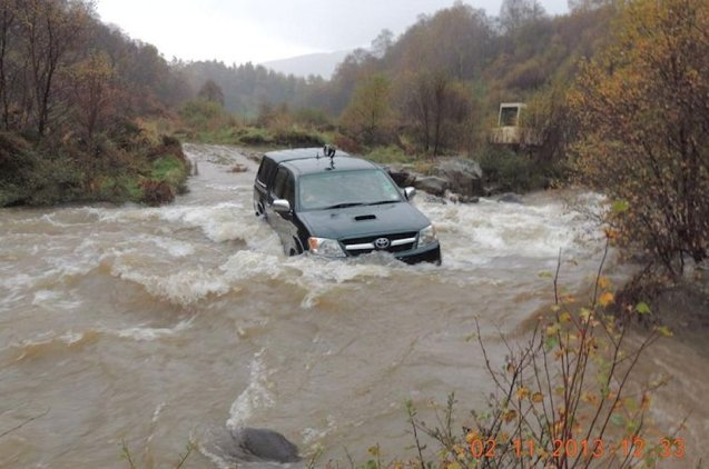 Driver of the day: pic from the Head Gamekeeper on Glenstriven Estate in Argyll of their clearly aptly named Toyota Hilux Invincible, via @ToyotaGB.