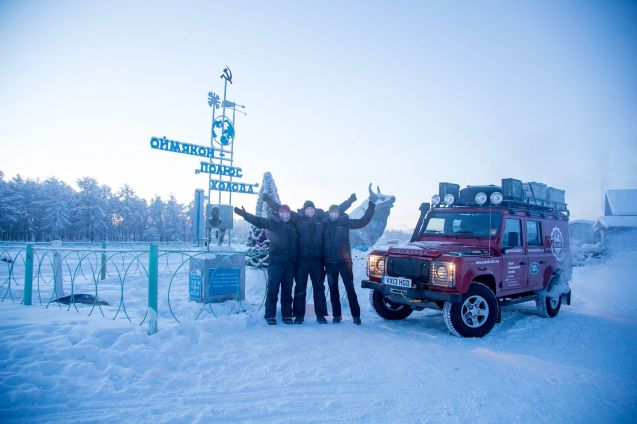 Machina Harosho (Good car): they made it. After 20,000km and nearly two months, the @PoleofCold2013 team – expedition leader Felicity Aston, photographer Manu Palomeque and engineer Gisli Jonsson - arrived in Oymyakon in eastern Russia, the world's coldest inhabited place, on Wednesday. Oymyakon has seen temperatures as low as -67.7 degrees. So far, Pole of Cold has experienced a relatively gentle low of -58 degrees.