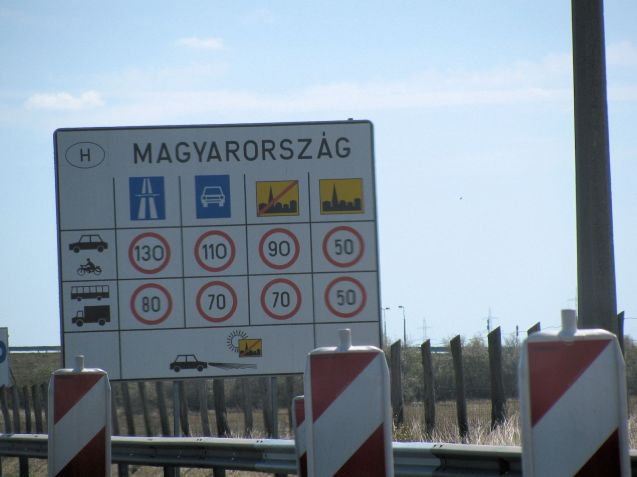 It's not completely clear how Magyorarszag became anglicised to Hungary. One neat theory is that prime among the Ungri tribes – originally from the Urals - were the Megyers. Vienna is only 75km from Hungary, all motorway. Before that we have to stop at a service station and buy the road vignette. It freaks us out that you have to 'apply', via telex, and that you're advised to keep the scrap of paper for xx years. It costs 2695HUF for the minimum 10 day pass, around £8.70.