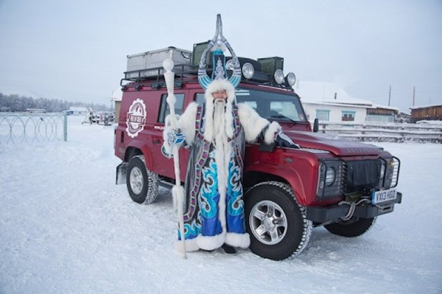 Waiting for them was Chyskhan, Lord Keeper of the Cold, the supreme head of the world's 25 registered Christmas characters. Santa and Father Frost among others come to Oymyakon each year to collect a token of winter which they return in the spring.