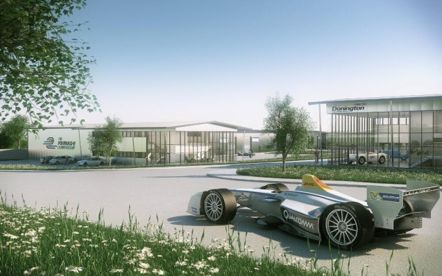 The all-electric Formula E racing series moves into a custom-built technology park at Donington Park Circuit on 1 May, just 100m from the Melbourne Hairpin. The 44,000ft² facility will house premises for each of the ten teams with 150 staff in total. Testing will start immediately ahead of the first race in Beijing in September.