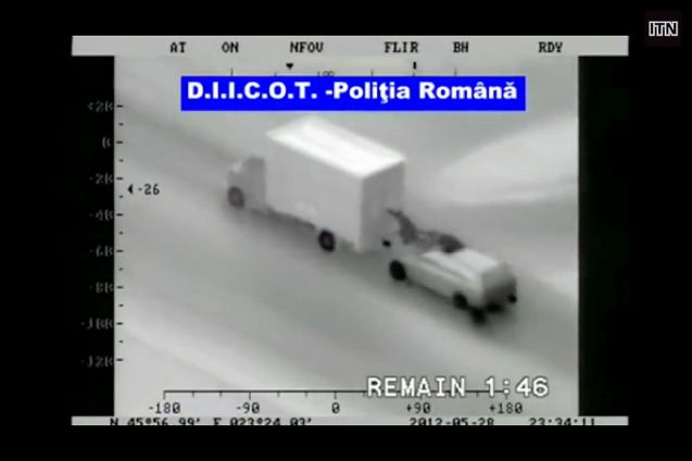 High speed highway robbery: 125 iPads, four iPad minis, 30 iPhones and two Apple keyboards were stolen from the back of a Czech truck somewhere on the A44 near Dortmund earlier this week. The driver was unaware of the theft until he stopped at Kassel. Such robberies always raise eyebrows but at least fifty cases have been reported in this part of Germany since November 2012. The picture above is a screen grab from a film released by Romanian police in June 2012. Parcel services are most commonly targeted.