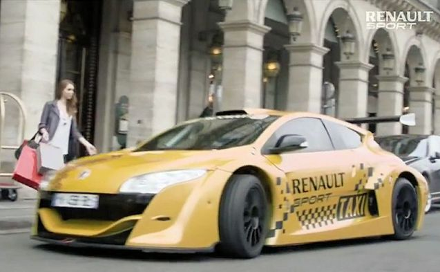 Paris taxi drivers fear competition from mid-engine V6 Renault Sport Megane Trophys. Not.