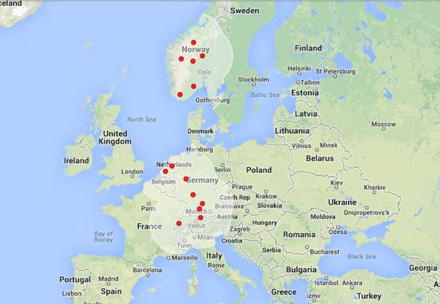 European network of Tesla Supercharger stations.