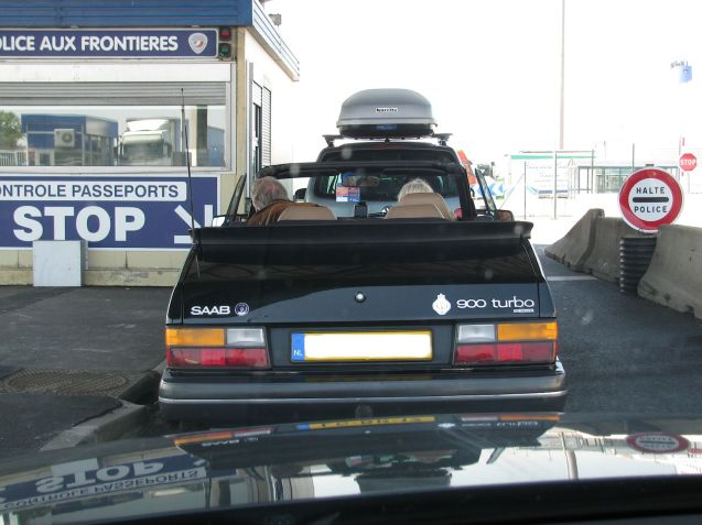 French passport control at Dunkirk port.