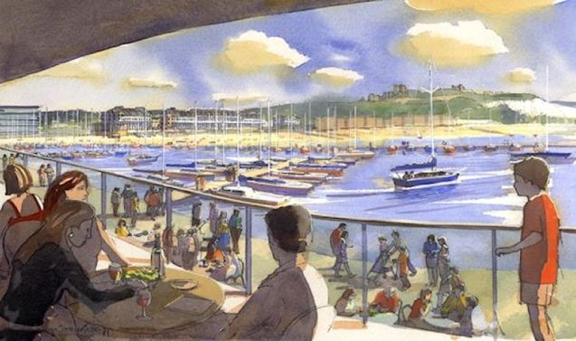 Artist's impression looking from the redeveloped Western Docks, Dover.