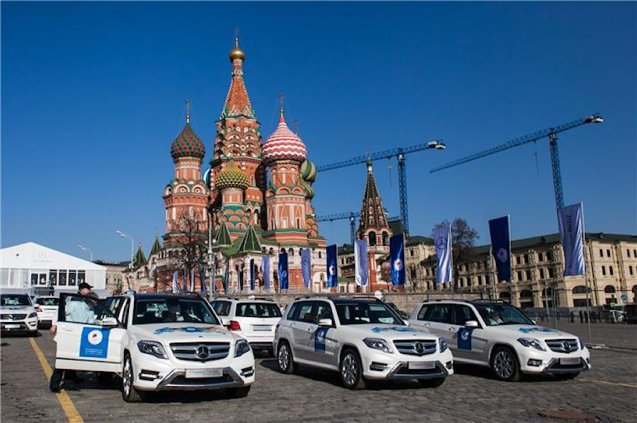 Each of Team Russia's Winter Olympics medal winners were given a brand new Mercedes today. Forty five cars were handed out in total - a GL-Class for gold, ML for silver and GLK for bronze - by prime minister Dmitry Medvedev at a ceremony on Vasilyevsky Spusk (descent) between Red Square and the Moskva river. Child prodigy figure skater Julia Lipnitskaia, too young to drive, was a also given a chauffeur.