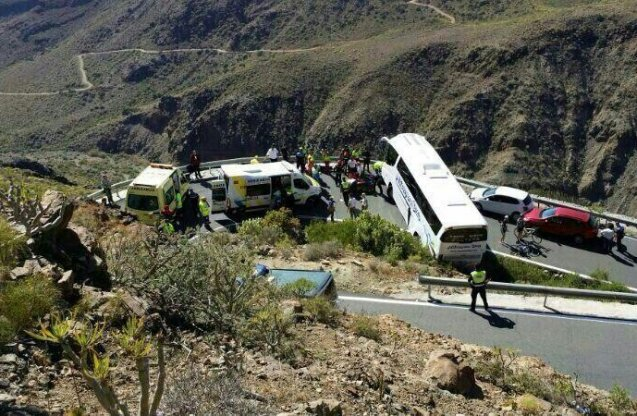 A tragic accident in Grand Canaria on Saturday after an Italian passenger was taken ill on a drive through San Bartolome de Tirajana in the centre of the island. The vehicle had to stop on a dangerous bend in the road. While the driver was manoeuvring, the man was run over and killed and nine others were injured, two seriously reports @AGI_Italy_News. Photo via @112Canarias.