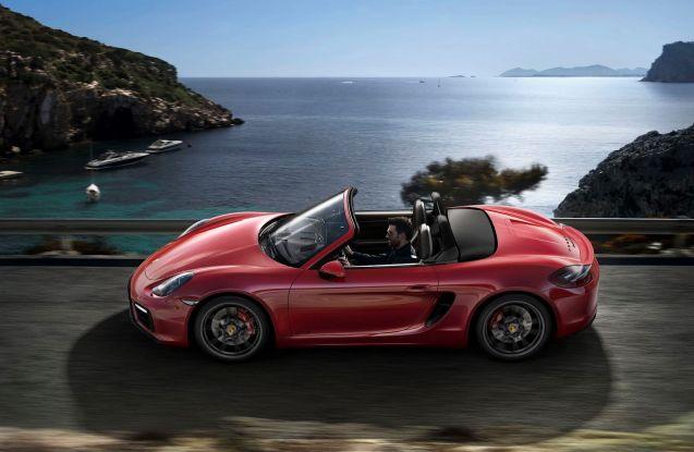 Porsche Boxster GTS: 0-62mph in 5secs, 330hp, top speed 174mph, 211 g/km CO2, £52,879.