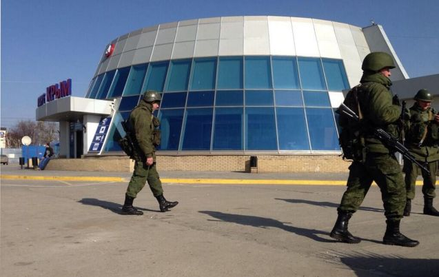 Occupying troops at the Kerch Ferry terminal earlier today. Photo via @EuroMaidanPR
