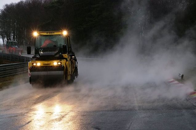Hot lap Nurburgring: laying a new surface at the Green Hell Nordschleife ahead of it reopening to tourist drives on 16 March. Photo via @nuerburgring_de. Also see www.nuerburgring.de