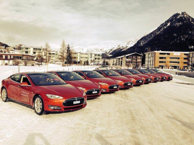 A line up of Tesla Model S at the Davos World Economic forum in eastern Switzerland, January 2014.