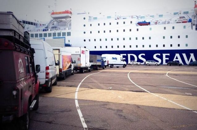 They're Back: the @PoleofCold Land Rover queuing for the DFDS Esbjerg-Harwich boat in Denmark yesterday.