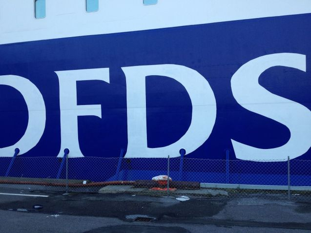 The DFDS Esbjerg-Harwich boat in Esbjerg last week.