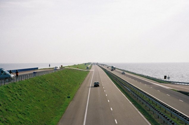 Afsluitdijk: protestors blocked the A7 causeway motorway this afternoon in a row about new windmills being erected on the Ijsselmeer lake. Built in 1933 it stretches over 20 miles between Den Oever and Zurich in north west Netherlands, damming off Ijsselmeer - Europe's largest freshwater lake, from the North Sea.