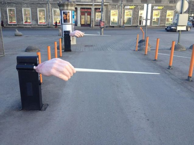 Random: the car park gates of the Estonian National Opera in Tallinn. Pic via @HLintu, Hannu Lintu, chief conductor of the Finnish Radio Symphony Orchestra. Thank you.