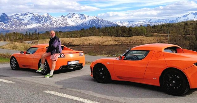 Meet Jens from Narvik, northern Norway, 125 miles inside the Arctic Circle and owner of the world's largest collection of Teslas: six Roadsters and one Model S. He owns that many because each of his six adult children need a car when they visit rather than him needing spares for when the batteries run out a la FormulaE racing cars. Actually he extols the virtues of EV traction in snowy conditions, says the winter range is almost the same as the summer range and that the Roadster was able to cope on a recent visit to -40 Sweden when the trains couldn't operate and the diesel in the buses froze.