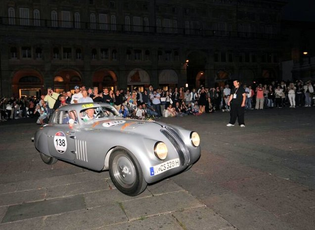 Mille Miglia 2014: Franz Jung and Armando Pirola Fumanelli – in a 1939 BMW 328 Berlinetta Touring - pull into Bologna on Friday night after a long day driving from Rome.