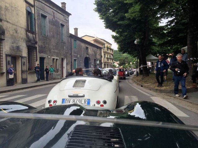 Martin Brundle and Bruno Senna line up in their Jaguar D-type 'Long Nose' for day two of Mille Miglia 2014, a minimum 500km Padua-Rome: 'Waiting for first time trial of a 15.5hr drive,' says @MBrundleF1, 'Battery issues so mustn't stall car, but mustn't overheat.' See #JaguarMille