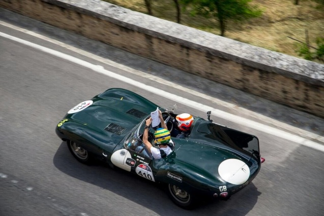 Mille Miglia 2014: Jaguar team mates @MBrundleF1 and @BSenna at speed in their Long Nose D-type. Another competitor said on Twitter, 'It's crazy, the police just tell us to go faster!'