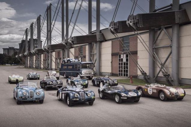 Meanwhile Jaguar's entry will be piloted by a team of racing and showbiz celebs including Martin Brundle and Bruno Senna in a 60 year old 'Long Nose' D-type, Jay Leno and Jaguar designer Ian Callum in an Ecurie Ecosse XK 120 roadster, model Jodie Kidd and actor Jeremy Irons both in XK 120 coupes and AC/DC singer Brian Johnson and racer Andy Wallace in C-type racers. See #JaguarMille