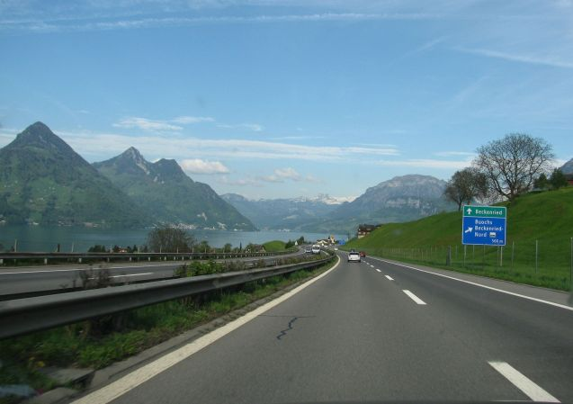 Everybody takes this picture and you can't blame them, as the A2 southbound sweeps down beside Lake Lucerne in central Switzerland. The bogeyman is that 45 miles further down this road is the Gotthard Tunnel where, on high days and holidays, delays can easily reach two hours. Two lanes of traffic on one of Europe's busiest north-south transit routes squeezes into the single track tunnel. Never mind. In good weather take the spectacular Gotthard Pass instead from J40 Goschenen (or wherever you can depending on the queues). The upside is that the A2 south of Gotthard is great too, downhill for 50 miles to Bellinzona along the Leventina Valley.