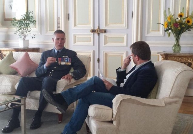 Wing Commander Andy Green in Vienna to discuss the upcoming land speed record attempt in @Bloodhound_SSC. Looks like someone airbrushed the teacup out of his hand. More later.