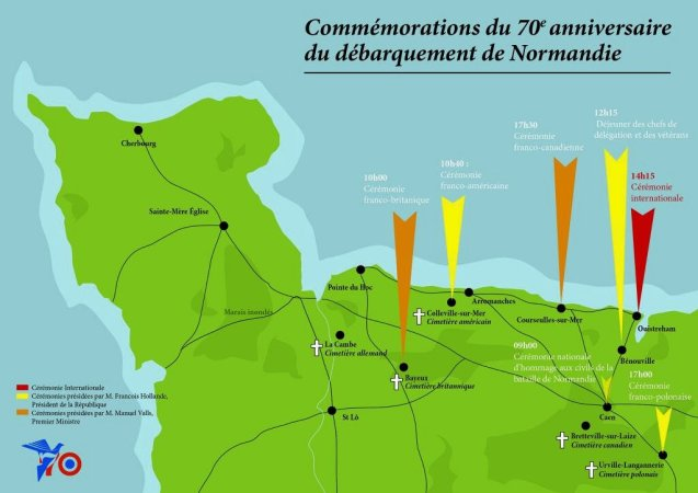 A map and timing of events on 6 June via @Elysee