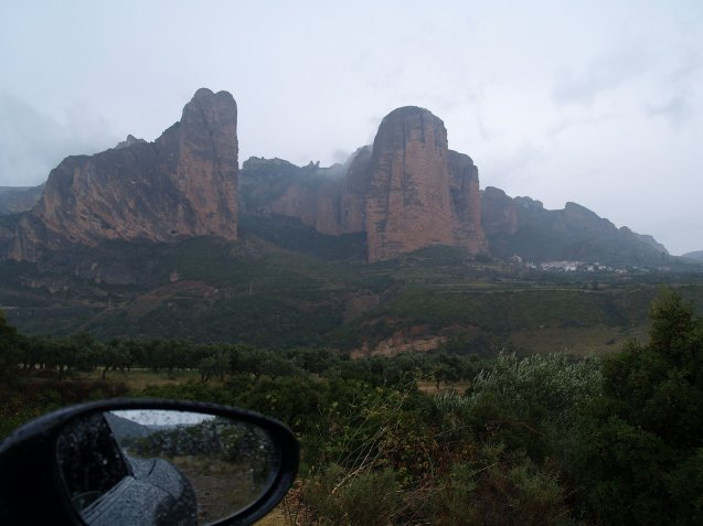 The 1,000ft Mallos de Riglos, foothills of the Pyrenees, from the A-132 heading north from Ayerbe.