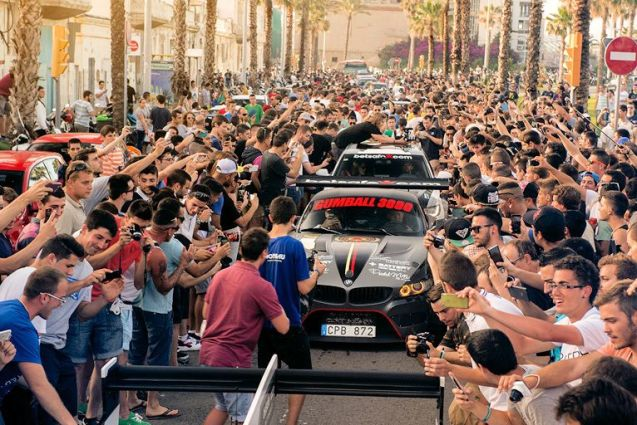 Since the first rally in 1999 Gumball3000 has grown into an enormous enterprise - valued at $200m says Forbes - on the back of films, merchandise and live entertainment. Nowhere was the success of the event more apparent than when the rally hit Spain last night. Thousands of fans gathered at the W Hotel at the Plaça de la Rosa dels Vents on the Barcelona waterfront. The teams drive 290 miles down the coast to the Port of Denia today for the boat to their final destination, lbiza. Photo Oskar Bakke via @Betsafe