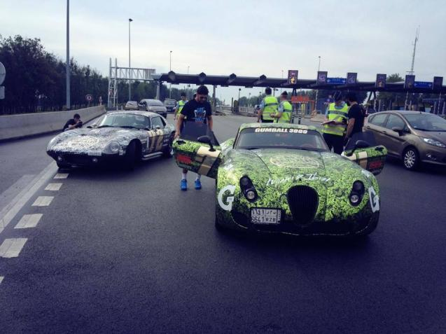 Team Galag's Wiesmann MF5 GT and Cobra Daytona apparently fall foul of the law as the Gumball3000 rally hits France. It's not known whether police were just making their presence felt or if there was a particular problem though it's a classic MO for drivers to be pulled over at peage after speeding between toll booths. It's a tense time for traffic police, just a few days ahead of the latest set of monthly figures which are expected to show a large rise in fatal accidents with speeding as the major cause. More when we have it.