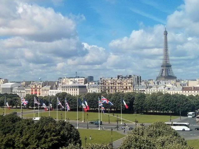 Paris: Union Jacks flying on the Place des Invalides taken from the Ministry of Foreign Affairs, Quai d'Orsay. Photo @FranceDiplo_EN