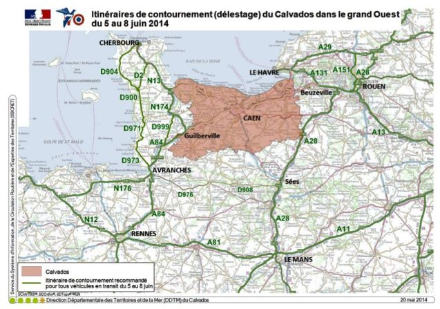 A map of the restricted traffic zone from @Gendarmerie: 'From June 5th to 8th, take the bypass roads to avoid #Calvados if you drive in the West of France.'