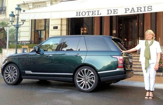 American 'Taste Queen' Martha Stewart shows she hasn't lost her touch as she poses beside an Aintree green Range Rover outside the Hotel de Paris in Monaco. Land Rover provided the VIP transport during last week's Entrepreneur of the Year Awards of which Stewart was a judge.