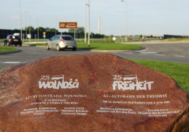 25 Years: the Polish and German presidents held a ceremony to mark twenty five years since the country's first free elections with a commemorative stone on the A2 Berlin-Lodz-Warsaw motorway.