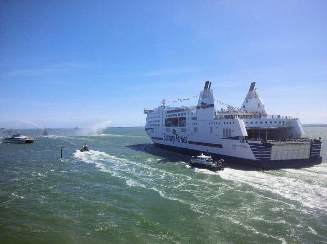 As they have done all week, a ferry carrying D Day veterans departs Portsmouth with a Royal Navy salute.