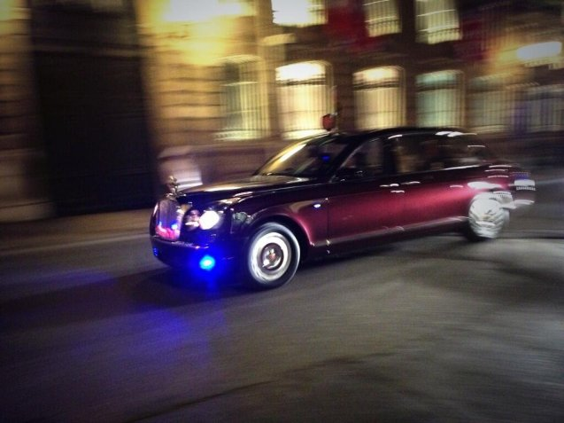 HM Queen departing the Elysee Palace late on Friday evening.