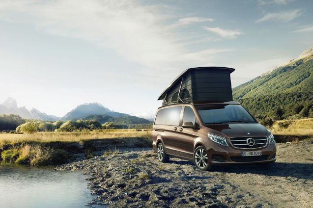 If we were going to have a campervan it would probably be this one: the new Mercedes-Benz Marco Polo. Based on the V-Class, it has electric everything – including bed (two doubles) and roof – teak floor, flush glass-topped kitchen units, matching integral outside table and chairs but no shower, or toilet unfortunately. The most powerful engine is a 2.2 litre turbodiesel, 136g/km 190bhp. Available with the usual raft of Mercedes driver assist and safety features. On sale in Germany from 29 July. Prices TBA.