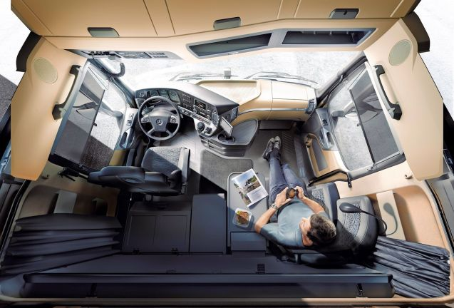 The Mercedes-Benz Actros cabin. Manufacturers spend millions to develop comfortable living space for drivers. Will they still need to bother?