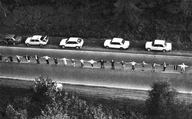 Two million people joined hands in a chain stretching 600km through Lithuania, Latvia and Estonia on 23 August 1989, known as 'The Baltic Way', also the 50th anniversary of the Nazi-Soviet Molotov-Ribbentrop Pact which secretly divided Europe and hived off the three Baltic States under Stalin. The 1989 demo marked the Baltic States' determination to achieve independence during the breakup of the Soviet Union. The chain followed the route of the now Via Baltica, north from Kaunas to Riga, but then branched off east then north to Estonian capital Tallinn. A number of events will be held this weekend to commemorate the 25th anniversary, see @BalticWay.