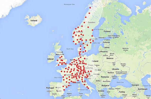 As Toddinton Harper - @Toddington_H - claims to be the first Englishman to drive to the South of France in a Model S using Tesla's emerging Supercharger network this weekend, the company tweets a picture of what the Continental network will look like by the winter. Founder Elon Musk responded personally to criticism that Portugal and Spain were sparsely covered – 'Expansion to Madrid already underway. Map is being updated. All of Spain & Portugal by end of 2015' – and that the company seems to be unaware 'the Iron Curtain crumbled 20 years ago' – 'I agree,' he said. 'We are fixing this plan. Updated map coming soon.' There is currently just one Supercharger open in Eastern Europe, in Ljubljana, Slovenia.
