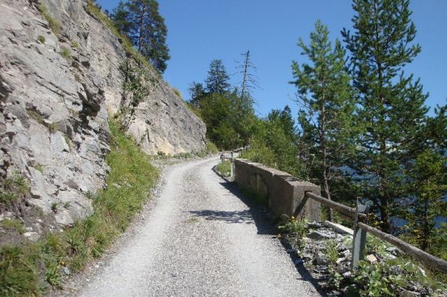 The road south between Vattins and Tamins (also on the A13 motorway) is Kunkelspass. It might only top out at 1357m (4452ft) but the gradients reach 20%. As the southern section passes across scree slopes only off-road vehicles are allowed to use it, and even then not without paying a €15 management fee to the local council for permission. Sounds interesting.