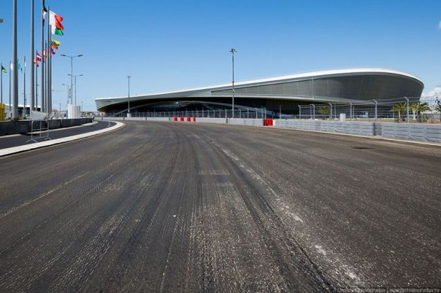 Work continues at Sochi ahead of the track hosting its first Formula One race in October. Photo Dmitry Christoprudov. See more at EnglishRussia.com