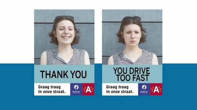 Antwerp: in an effort to personalise speeding, locals are being asked to upload two photos of themselves – one smiling, the other not - to be used on LED traffic signs. The idea is that when a driver passes by under the speed limit the smiling face is shown, and when a speeding driver is detected the angry or disapproving face is flashed up. See graagtraag.be